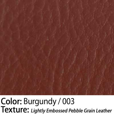 Color: Burgundy / Texture: Lightly Embossed Pebble Grain Leather