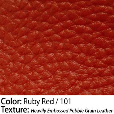 Color: Ruby Red / Texture: Heavily Embossed Pebble Grain Leather