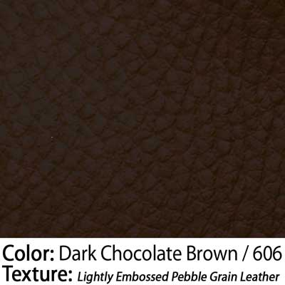 Color: Dark Chocolate Brown / Texture: Lightly Embossed Pebble Grain Leather
