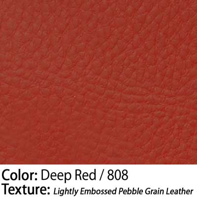Color: Deep Red / Texture: Lightly Embossed Pebble Grain Leather