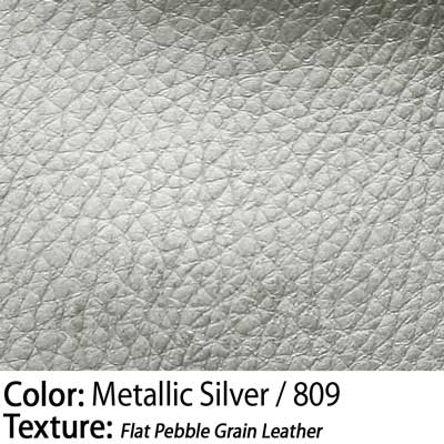 Color: Metallic Silver / Texture: Flat Pebble Grain Leather