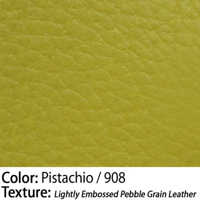 Color: Pistachio / Texture: Lightly Embossed Pebble Grain Leather