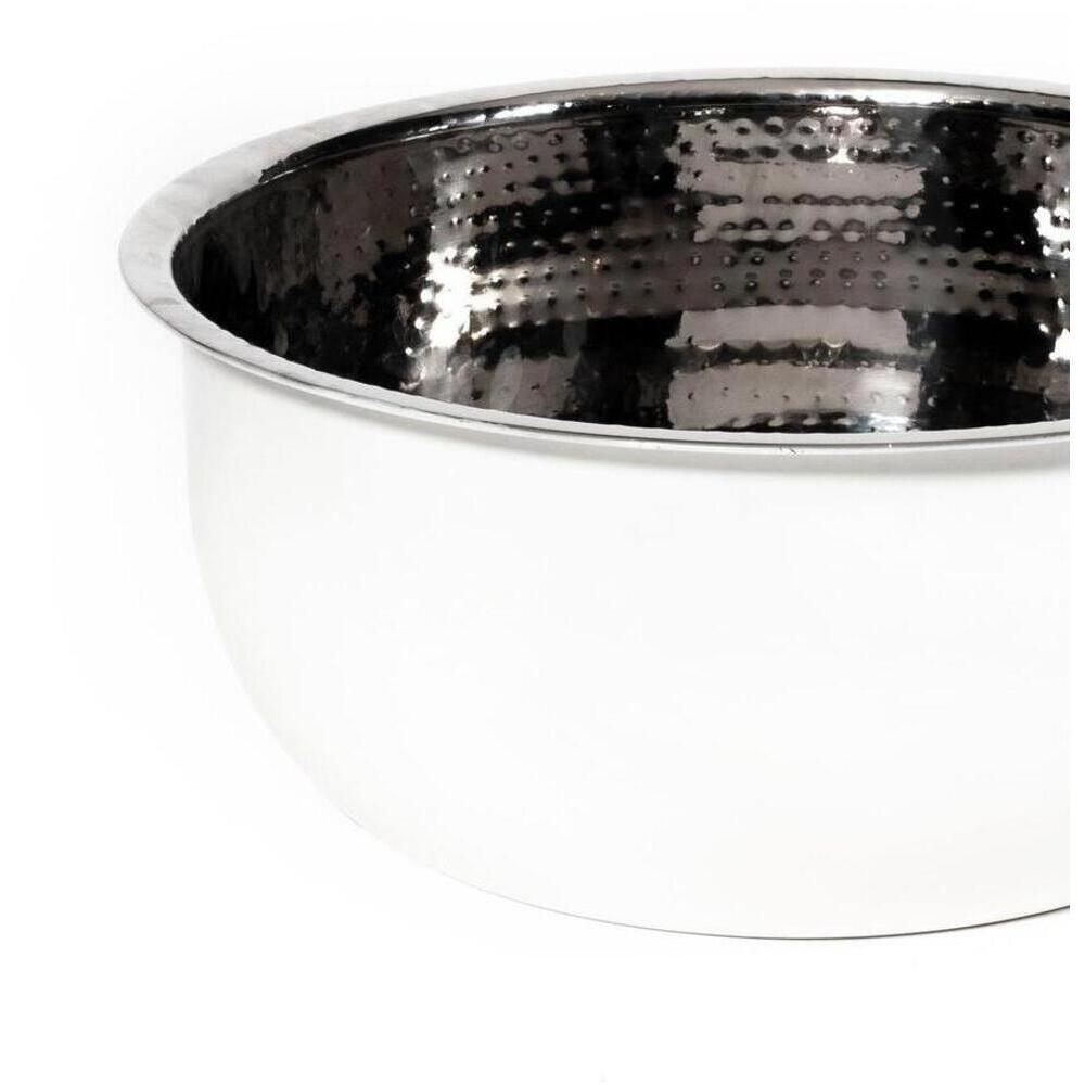 Pedicure Bowl - Hand Hammered Stainless Steel with White Powder Coated Exterior